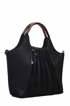 Black Stripped Shopper Bag