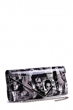 Black/White Magazine Print Envelope Clutch Bag