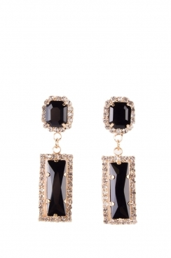 Bling Black Square Shape Earrings