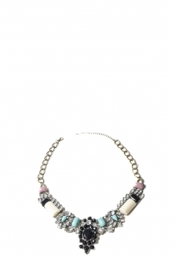 Blue and Pink Bead Necklace