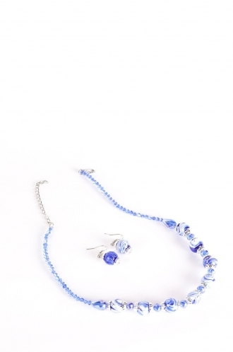 FFOMO Blue Bead Necklace and Earring Set