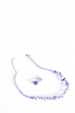 Blue Bead Necklace and Earring Set