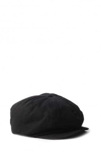 FFOMO Bradley Black Herringbone Cotton Flat Cap