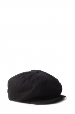 Bradley Black Herringbone Cotton Flat Cap
