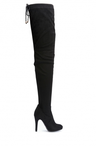 FFOMO Brenda black faux suede over the knee thigh boots