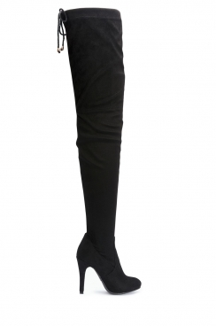 Brenda black faux suede over the knee thigh boots
