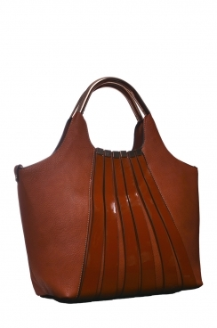 Brown Stripped Shopper Bag