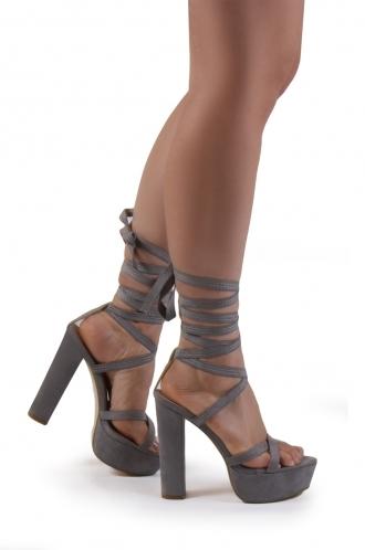 FFOMO Bryony grey faux suede lace up platform heels