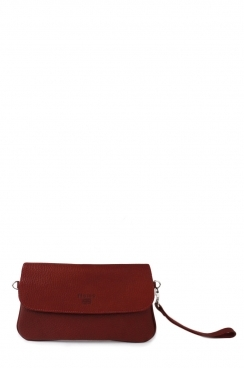Burgundy Pochette Real Goat Leather Envelop Clutch Bag
