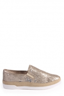 Caitlin Bronze sequin slip on trainer with woven strip