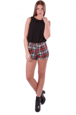 Camila Black Tartan Print with Cut Out Back Playsuit
