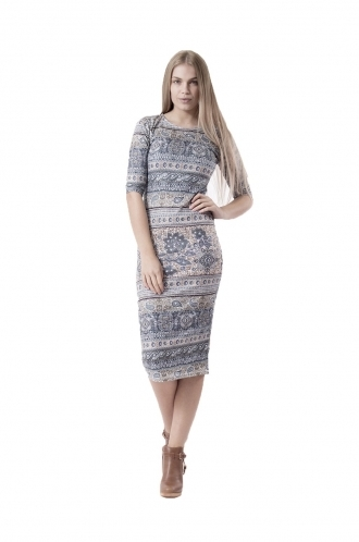 FFOMO Caroline Green Paisley Midi BodyCon Dress