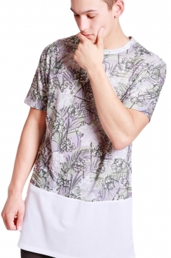 Carter Tropical leaf print long over sized T-shirt With White Airtex Hem