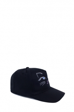 Cat Embroidered Black cap