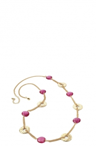 FFOMO Chain Necklace With Pink Colour Beads