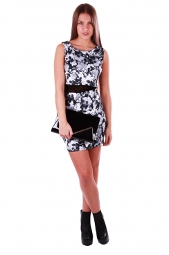 Chloe Monotone Floral Overlay Dress