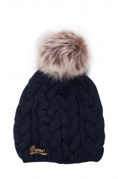 Chunky Knitted Black Womens Faux fur pom Beanie