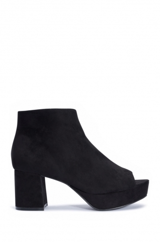 Clara black faux suede peep toe ankle boots