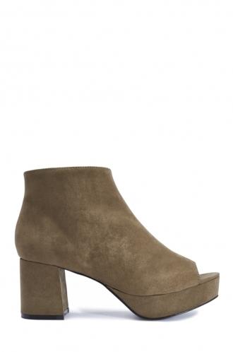 FFOMO Clara khaki faux suede peep toe ankle boots