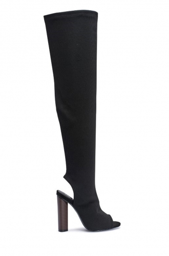FFOMO Clare Black Knit over the knee peep toe boots