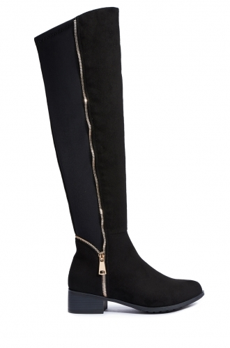 FFOMO Clare Faux Suede Knee High Boots With Zip Detail