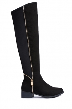 Clare Faux Suede Knee High Boots With Zip Detail