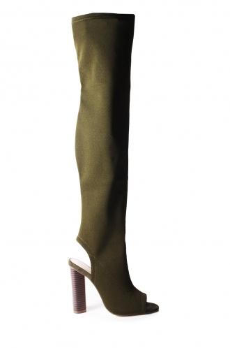FFOMO Clare Khaki Knit over the knee peep toe boots