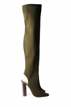 Clare Khaki Knit over the knee peep toe boots