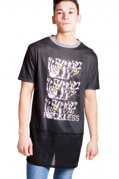 Cody Tiger Print  long over sized T-shirt With Black Airtex Hem