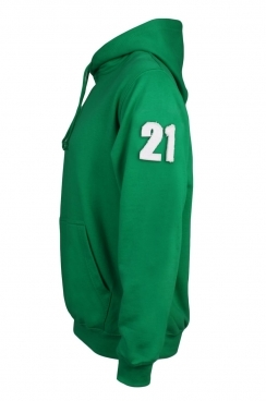 Cole 21 Applique Arm Patch Pullover Green Hoodie
