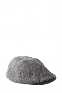 Connor Grey Herringbone Cotton flat cap