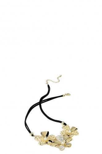 FFOMO Crystal Flower Black Cord Necklace