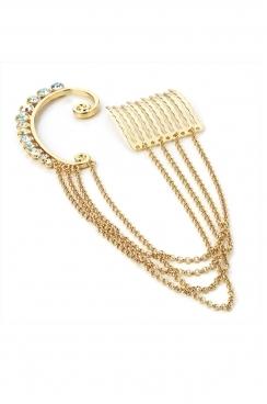 Crystal gem Ear cuff and hair clip, with four chain detail.