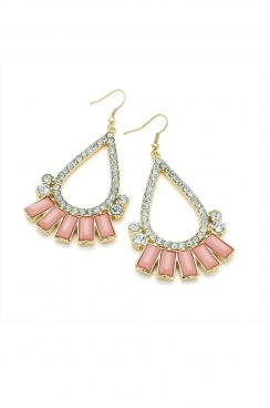 Crystaled gold plated teardrop  tassel earrings with pink gem detailing