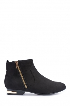 Cynthia Black Faux Suede Ankle Boots