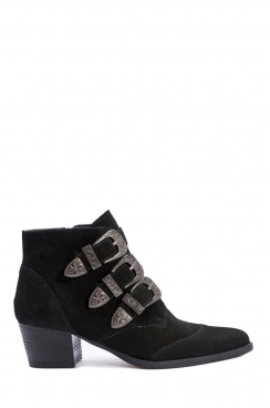 Cynthia black faux suede  buckle ankle boots