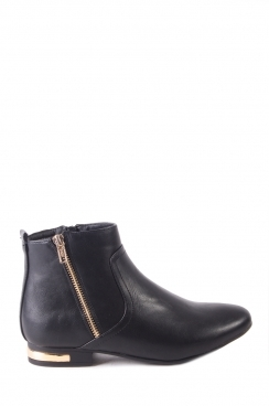 Cynthia Black PU Ankle Boots