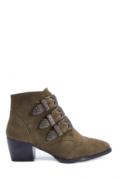 Cynthia khaki faux suede  buckle ankle boots