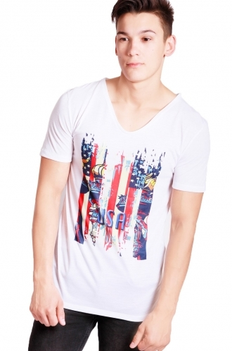 FFOMO Daniel USA Print Slim Fit with Deep V Neckline T-shirt