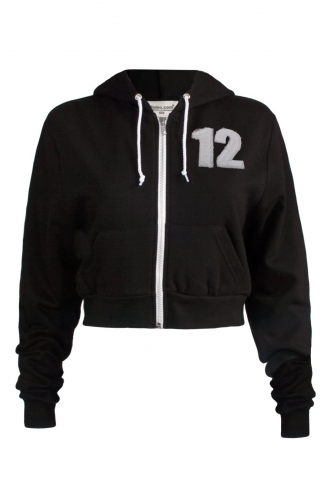 FFOMO Danni 12 Applique Patch Cropped Black Metal Zipped Hoodie