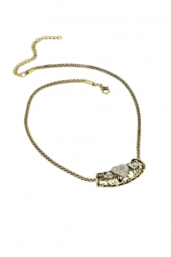 Dark gold toned chain with heart patterned moveable, gold bar