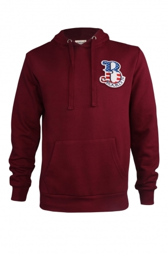 FFOMO Dennis Brooklyn Embroidered Patch Pullover Burgundy Hoodie
