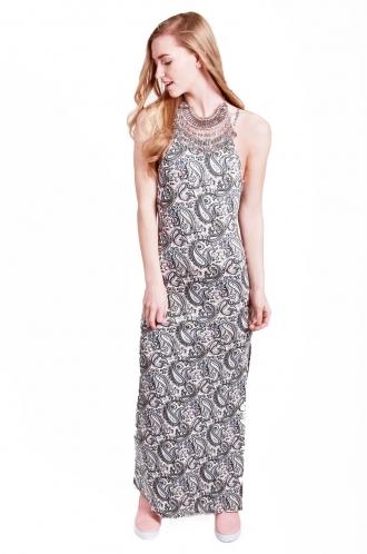 FFOMO Dexie Paisley High Neck maxi Dress