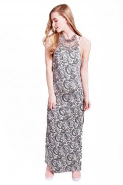 Dexie Paisley High Neck maxi Dress