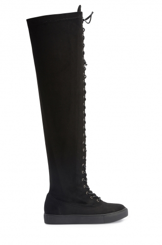 FFOMO Diana black faux suede over the knee lace up boots