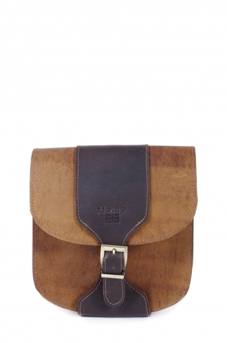 FFOMO Dusty Brown Real Camel Leather Handmade Body Unisex Bag with Buckle Detail