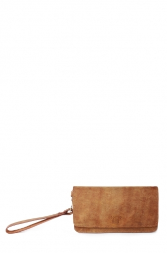 FFOMO Dusty Light Brown Real Camel Leather Unisex Wallet