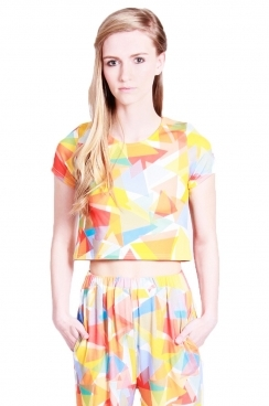 Eden Crop top Orange traingle print all over