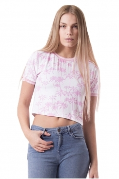 Elena Pink Palm Tree Print Crop Top