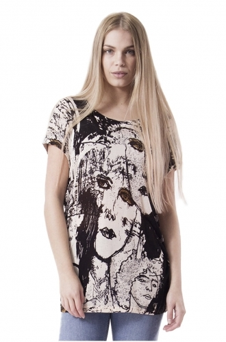 FFOMO Eli Sketch Print Knitted Top